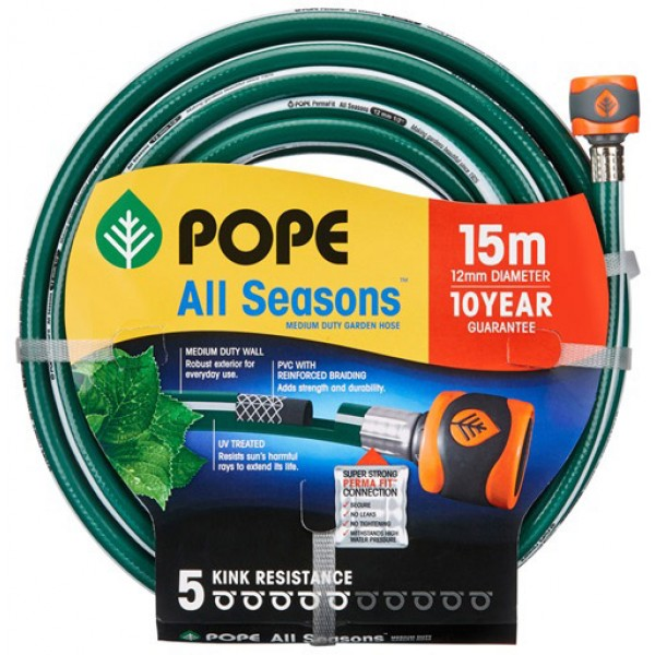 Pope All Seasons Garden Hose (12mm x 15m)(Tap Ready)