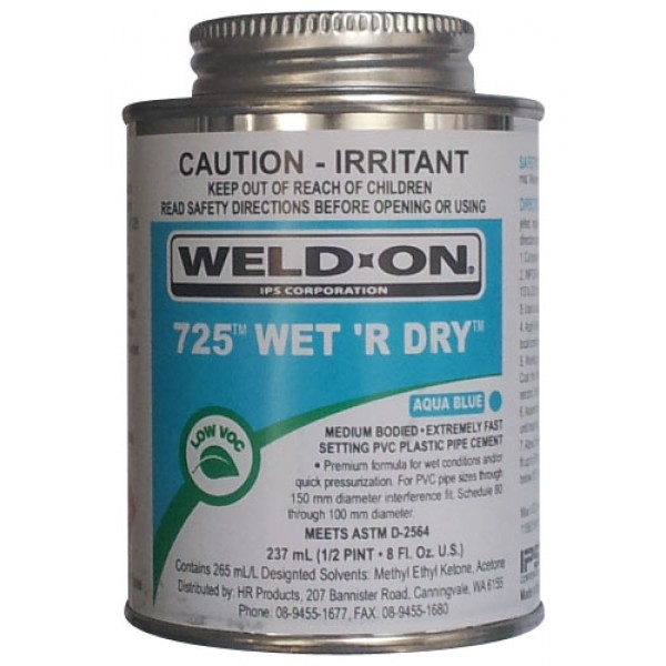 Weld-On 725 Wet 'R Dry PVC Pipe Cement