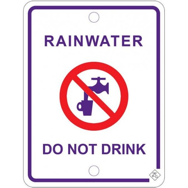 92mm x 70mm Colorbond Recycled Water Tap Sign (Lilac)